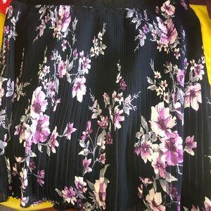 Beautiful pleated black and purple flowers skirt